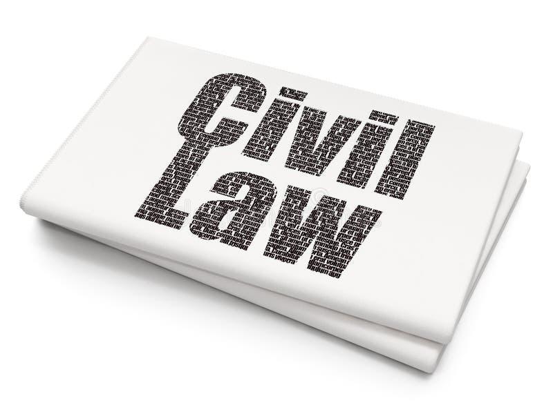 Concept de loi : Droit Civil sur le fond vide de journal illustration stock
