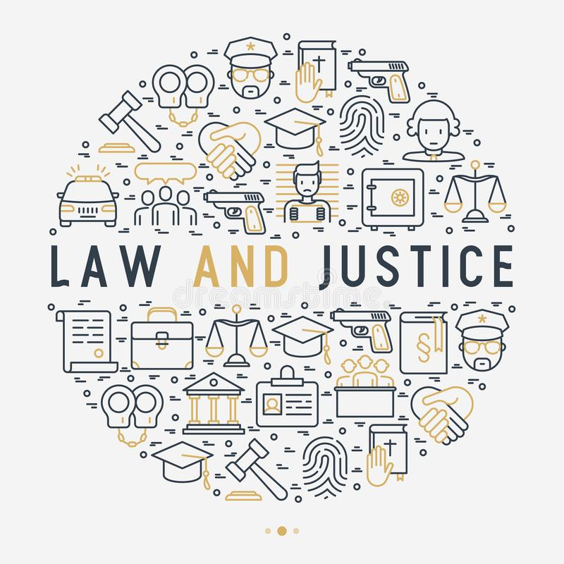 Concept de loi et de justice en cercle illustration stock