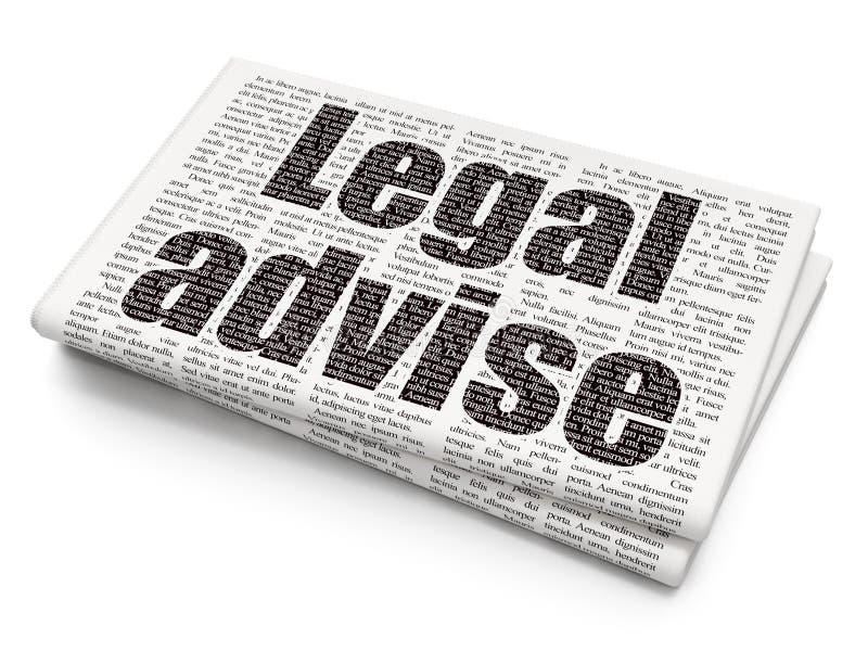 Concept de loi : Juridique donnez un avis sur le fond de journal illustration libre de droits