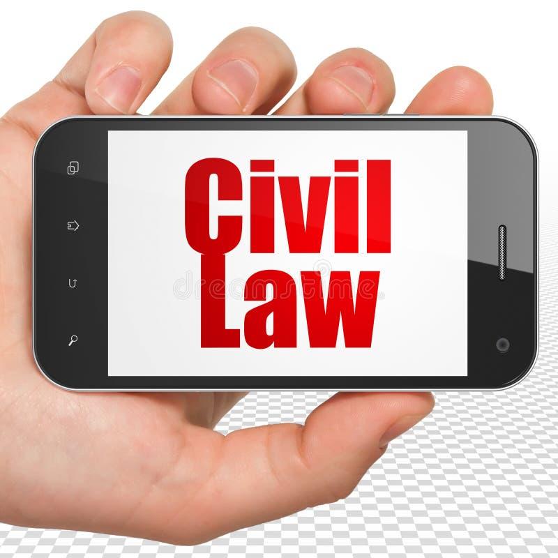 Concept de loi : Main tenant Smartphone avec le Droit Civil sur l'affichage illustration de vecteur