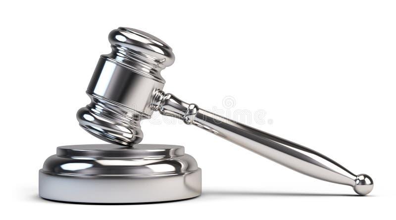 Concept de loi - marteau argenté de juge illustration stock