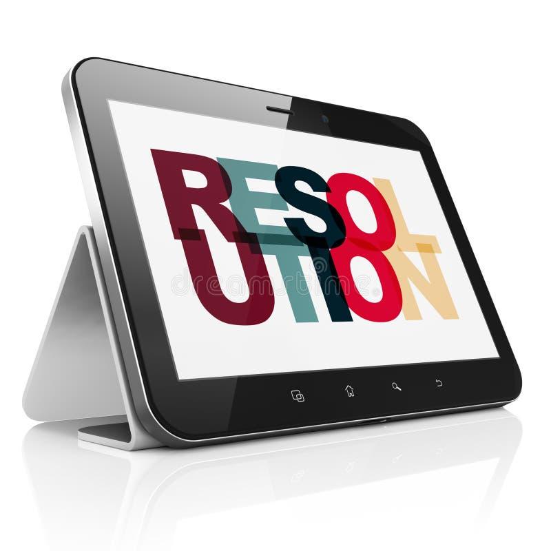 Concept de loi : Tablette avec la résolution concernant l'affichage illustration stock