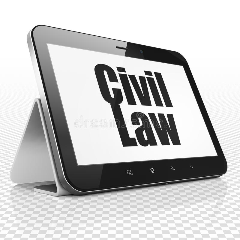 Concept de loi : Tablette avec le Droit Civil sur l'affichage illustration stock