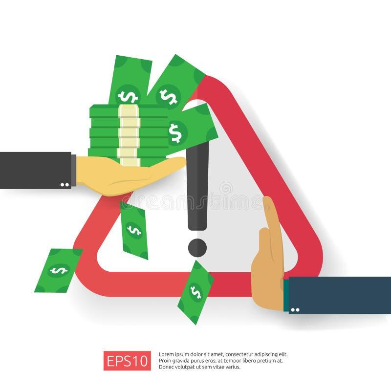 Concept de lutte contre la corruption, de lutte contre la corruption et de déclin Soudoyer les entreprises avec de l'argent dans  illustration libre de droits