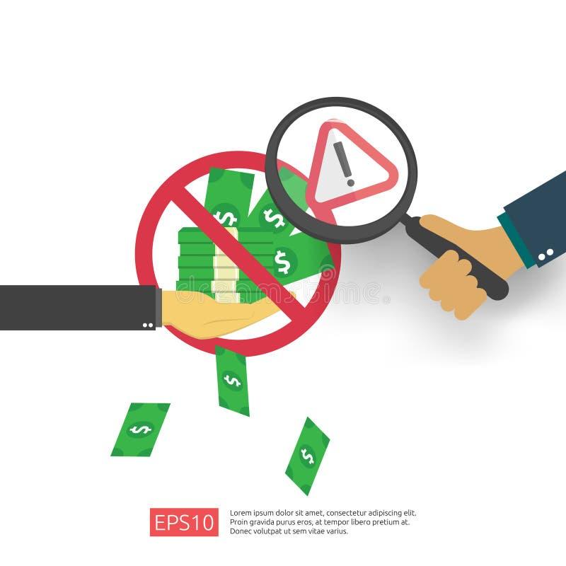 Concept de lutte contre la corruption, de lutte contre la corruption et de déclin Soudoyer les entreprises avec de l'argent dans  illustration stock