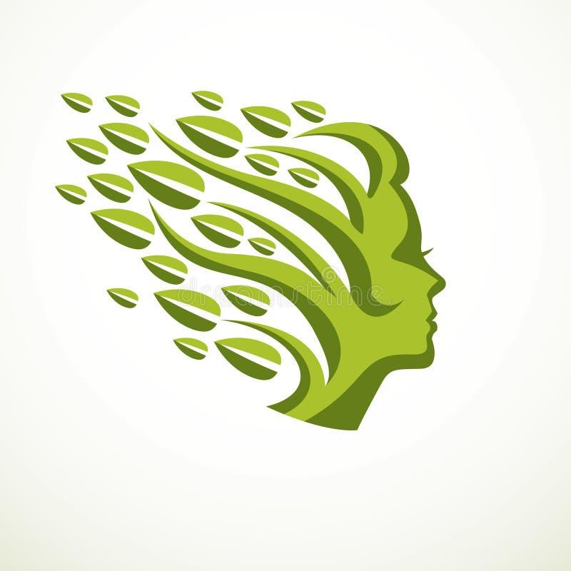 Concept de mère nature, beau profil de tête de femme avec le branche illustration stock