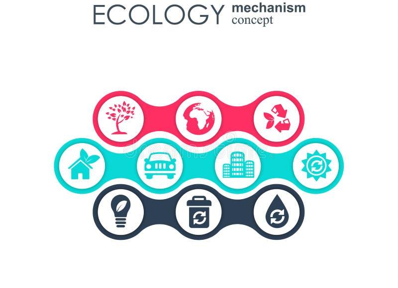 Concept de mécanisme d'écologie Fond abstrait avec les vitesses et les icônes reliées pour écologique, énergie, environnement illustration stock