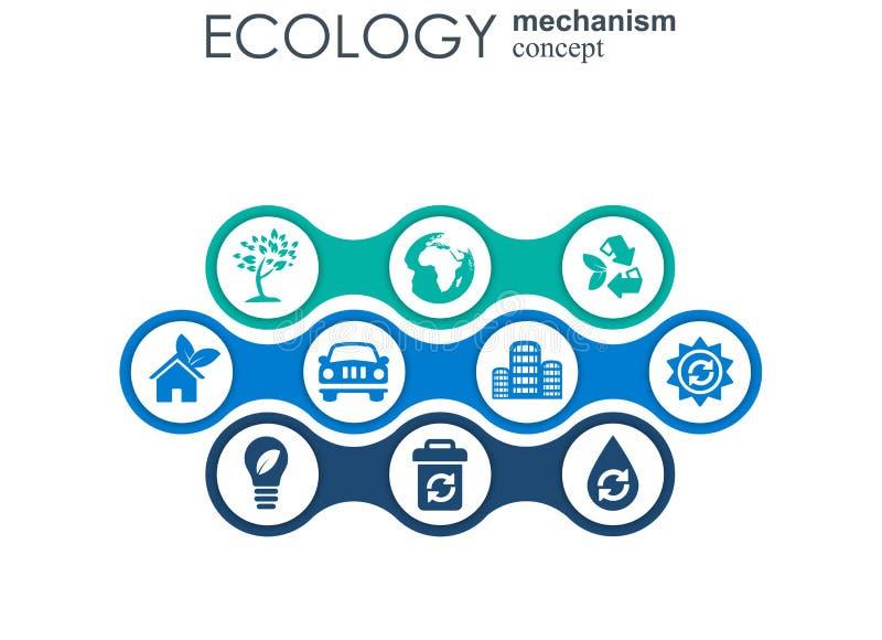 Concept de mécanisme d'écologie Fond abstrait avec les vitesses et les icônes reliées pour écologique, énergie, environnement illustration de vecteur