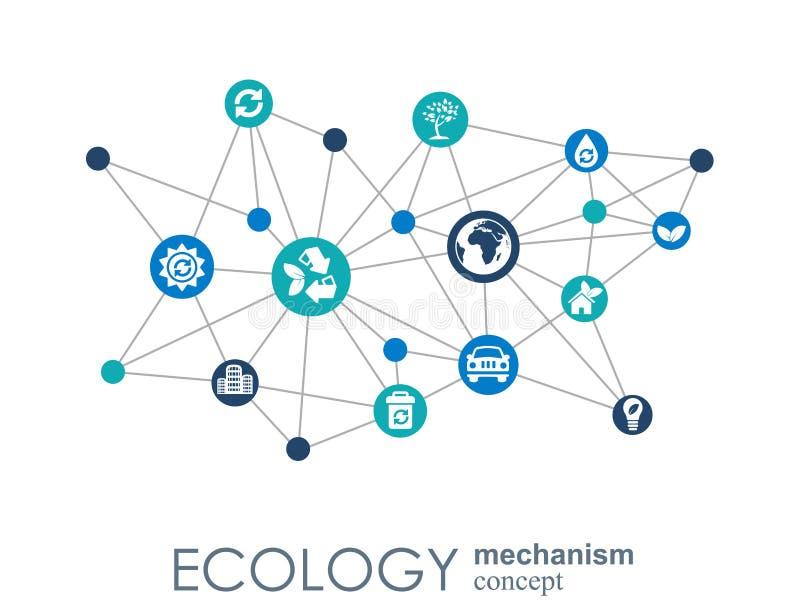Concept de mécanisme d'écologie Fond abstrait avec les vitesses et les icônes reliées pour écologique, énergie, environnement illustration libre de droits