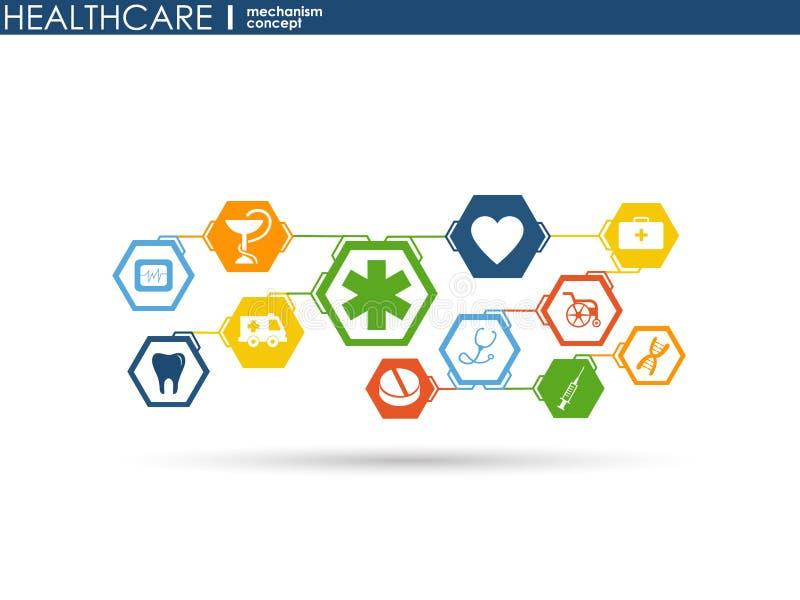 Concept de mécanisme de soins de santé Fond abstrait avec les vitesses et les icônes reliées pour médical, santé, stratégie, soin illustration stock