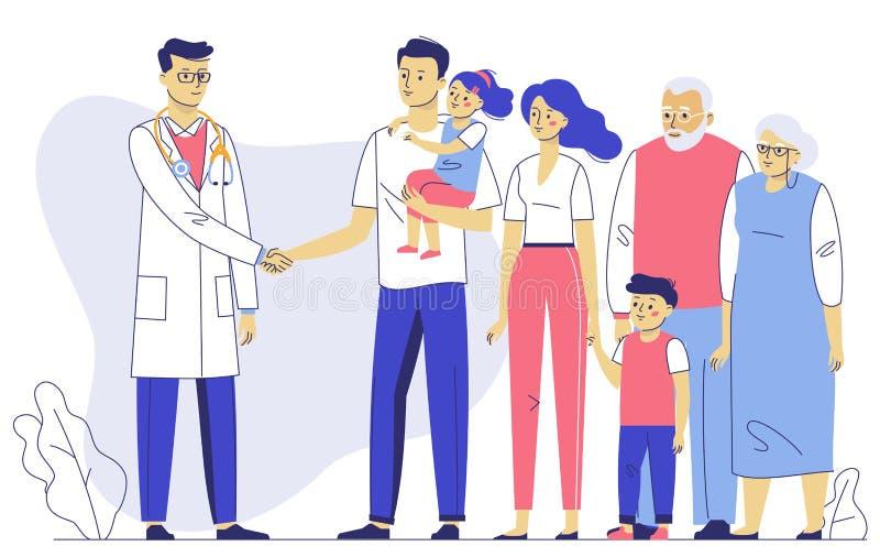 Concept de m?decin de famille avec des patients Consultation et diagnostic dans l'h?pital image libre de droits