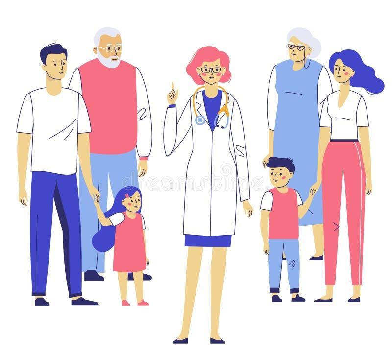 Concept de médecin de famille avec des patients image libre de droits