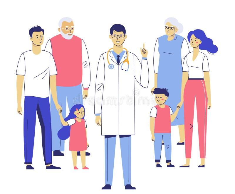 Concept de médecin de famille avec des patients photographie stock
