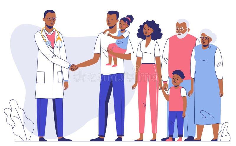 Concept de m?decin de famille avec les patients ethniques Consultation et diagnostic dans l'h?pital images stock