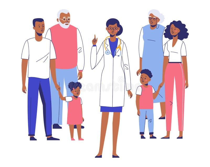 Concept de médecin de famille avec les patients ethniques photo stock