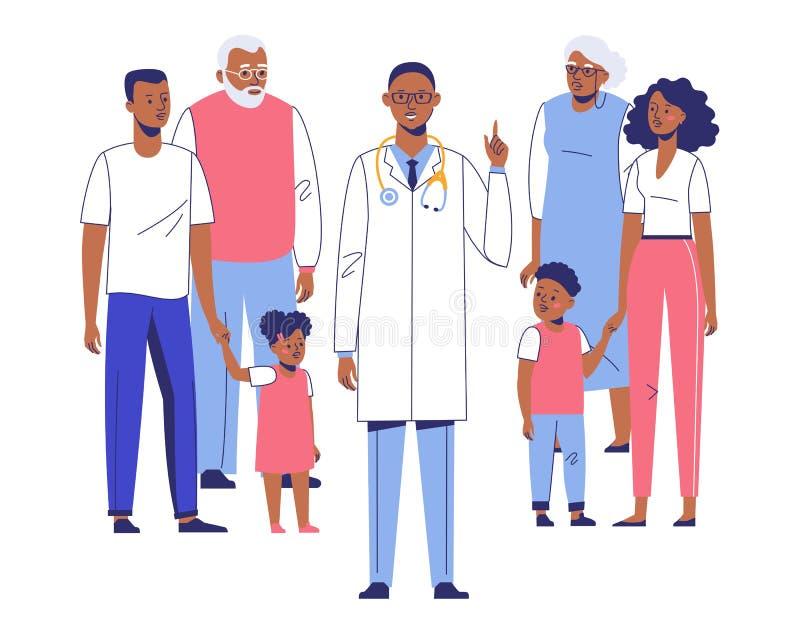 Concept de médecin de famille avec les patients ethniques images libres de droits