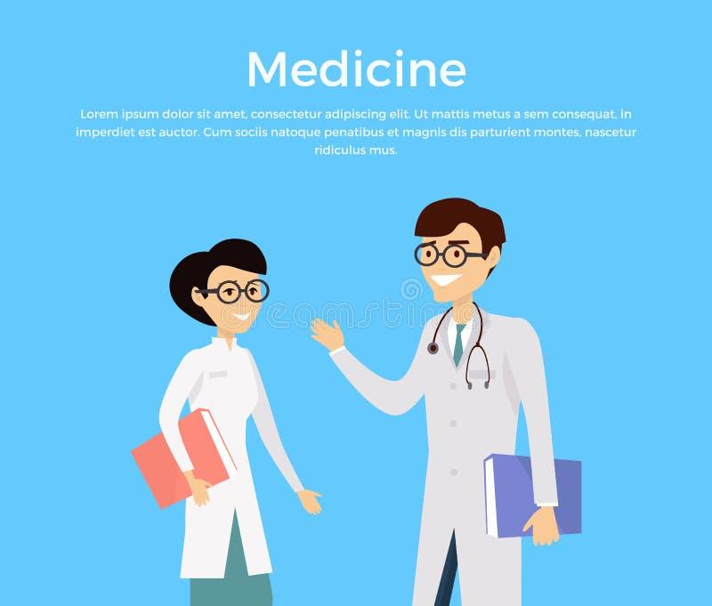 Concept de médecine avec des caractères d'experts en matière de soins de santé illustration de vecteur