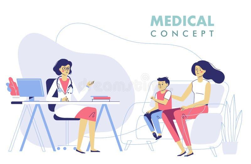 Concept de m?decine avec des patients de docteur et de famille photo stock