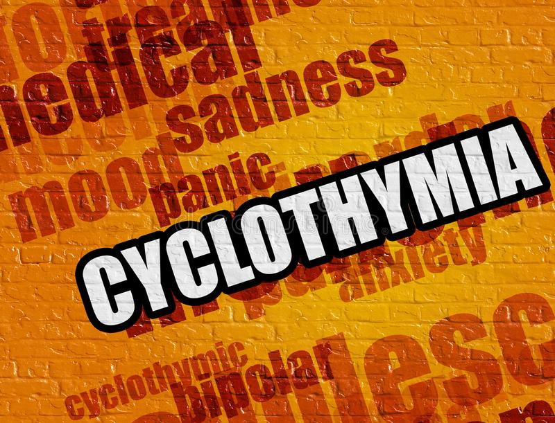 Concept de médecine : Cyclothymia sur le mur de briques jaune photo libre de droits