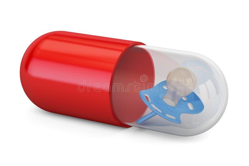 Concept de médecine de bébé Capsule, pilule avec la tétine, rendu 3D illustration libre de droits