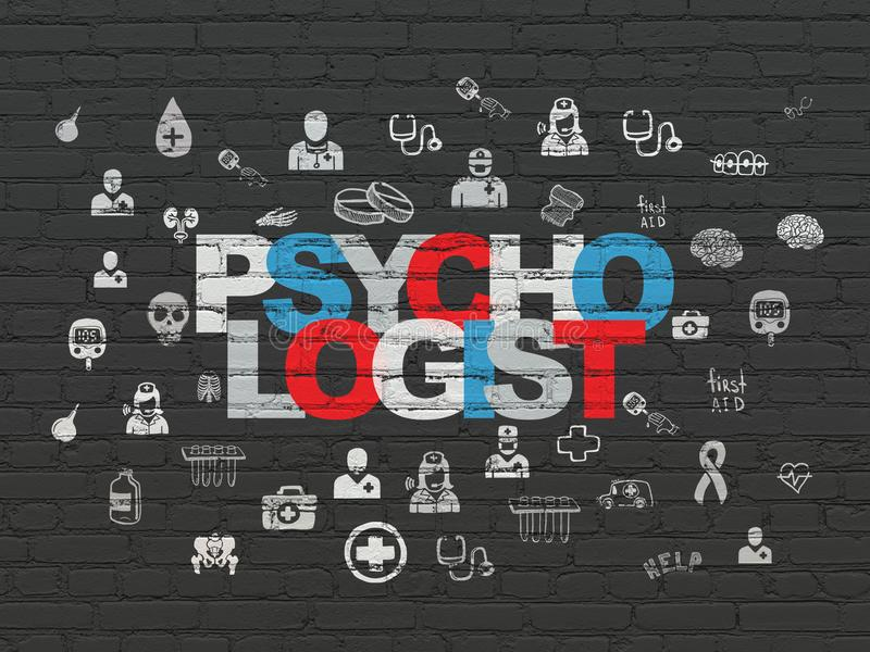 Concept de médecine : Psychologue sur le fond de mur illustration stock