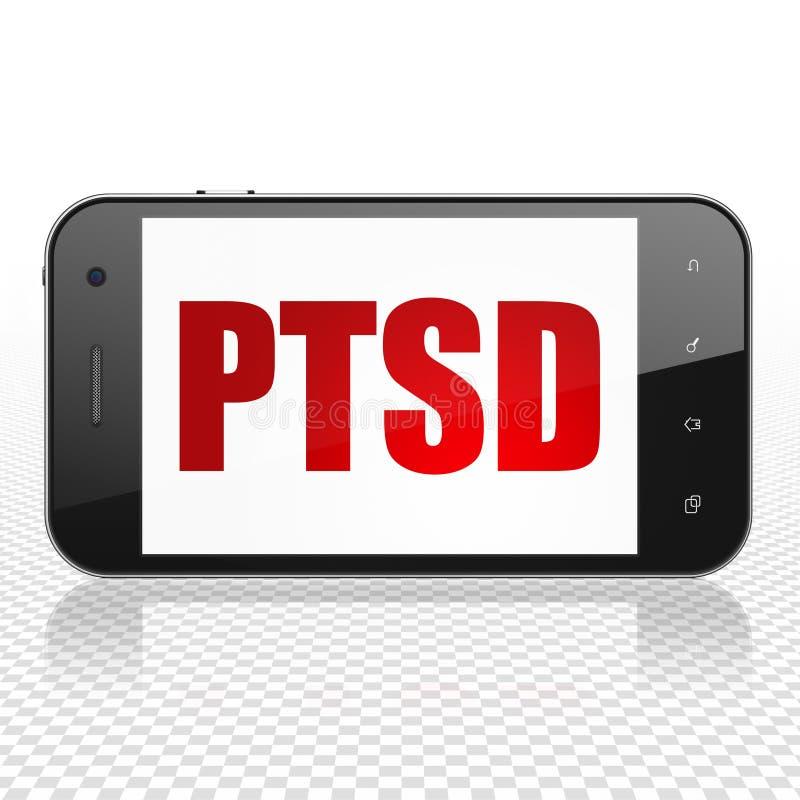 Concept de médecine : Smartphone avec PTSD sur l'affichage illustration libre de droits