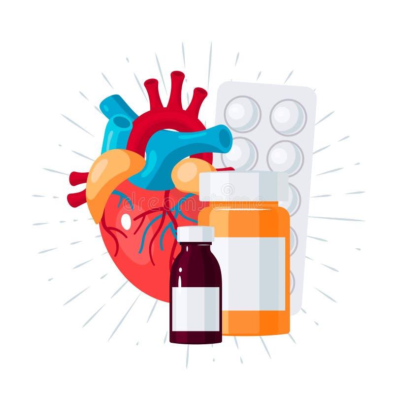 Concept de médicament de coeur dans le style plat, vecteur illustration libre de droits