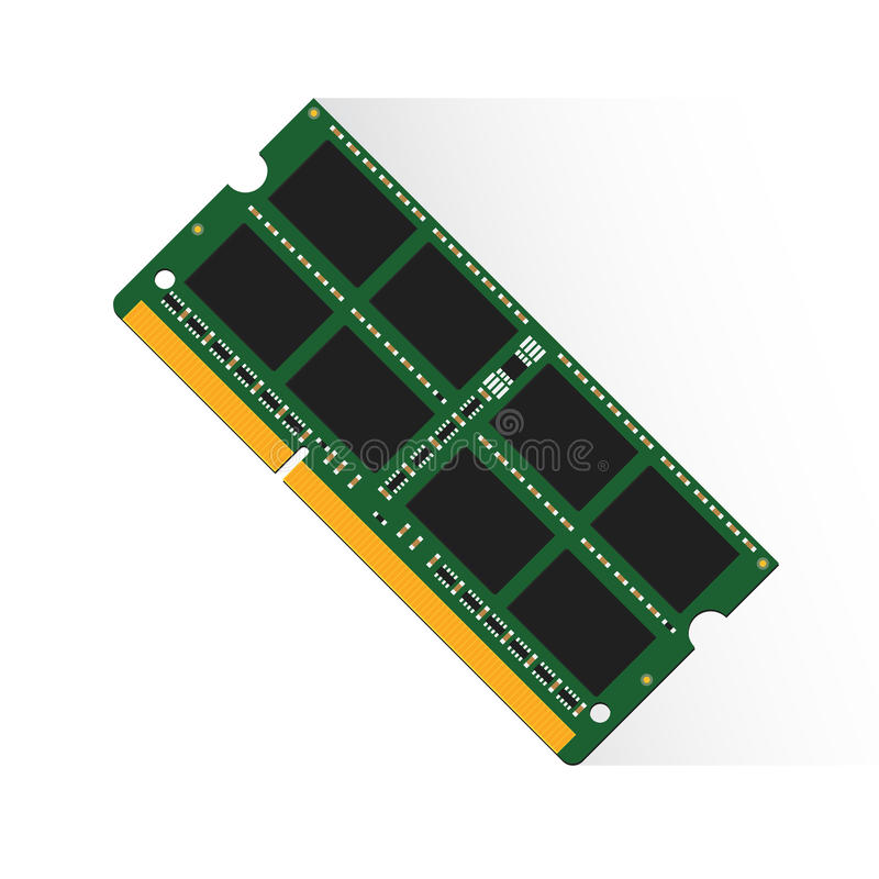Concept de mémoire à accès sélectif par le labtop 4GB ou 8GB ou 16GB de RAM illustration de vecteur