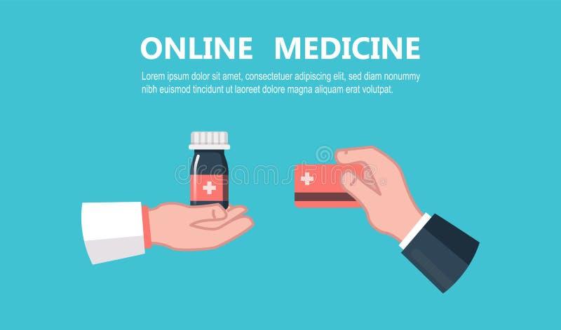 Concept de magasin de pharmacie Médicament médical de drogue d'achat illustration de vecteur
