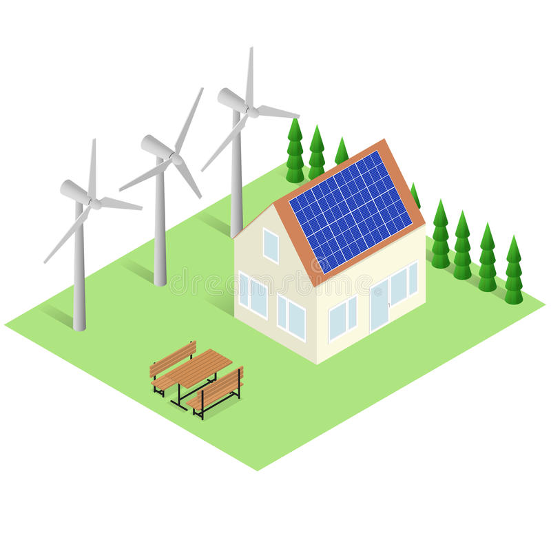 Concept de maison verte Bâtiment isométrique d'Eco illustration de vecteur
