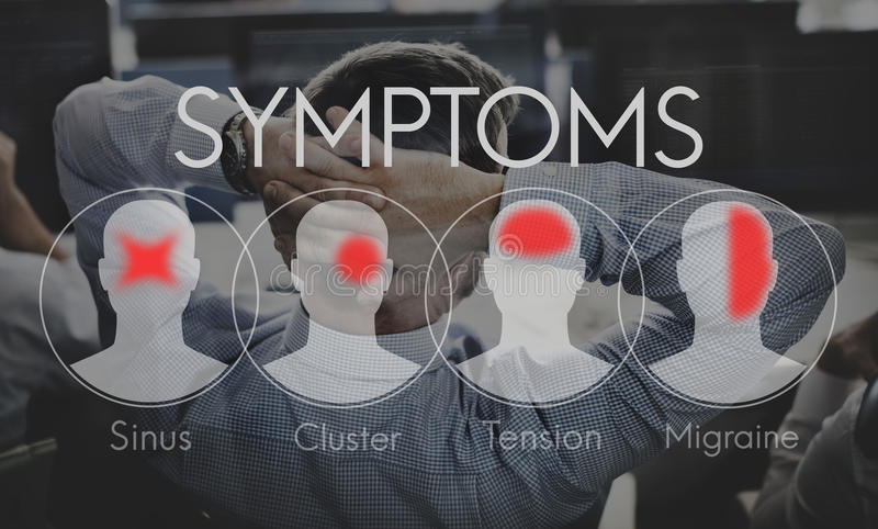 Concept de mal de tête de soins de santé de maladie de maladie de symptômes photographie stock