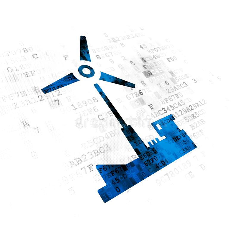 Concept de Manufacuring : Moulin à vent sur le fond de Digital illustration libre de droits