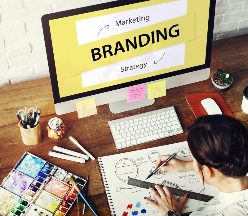 Concept de marquage à chaud d'idées de stratégie marketing photographie stock