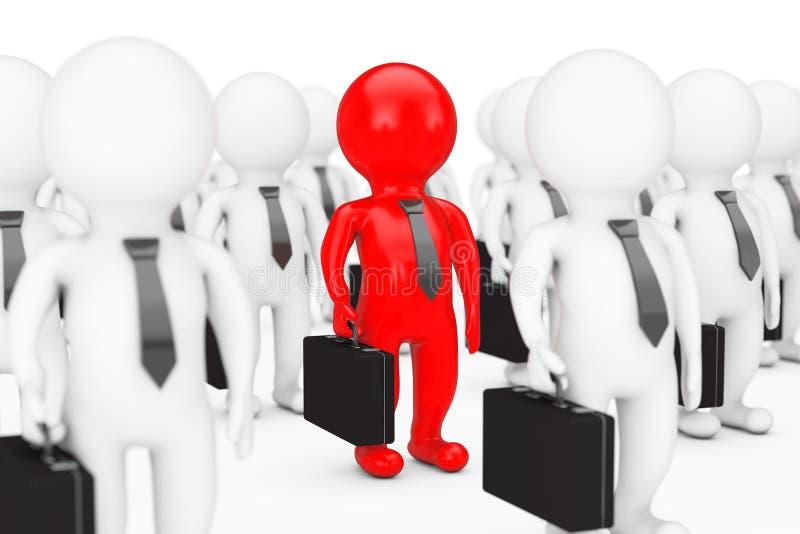Concept de meneur d'équipe Personne beaucoup de 3d avec un rouge rendu 3d illustration libre de droits