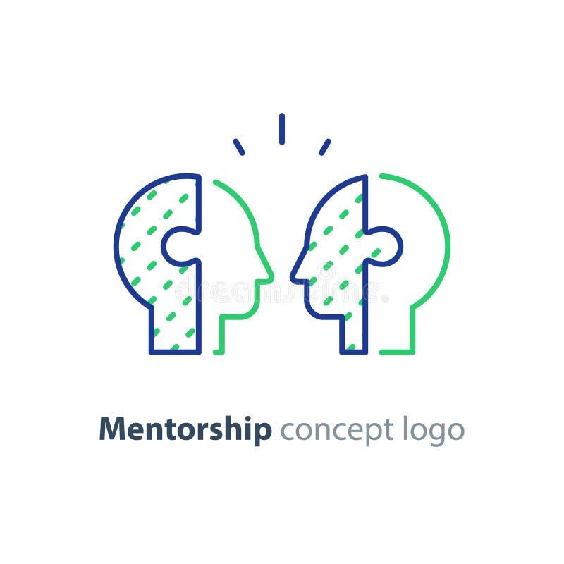 Concept de mentor, icône bilatérale de têtes, psychologie, interraction humain illustration de vecteur