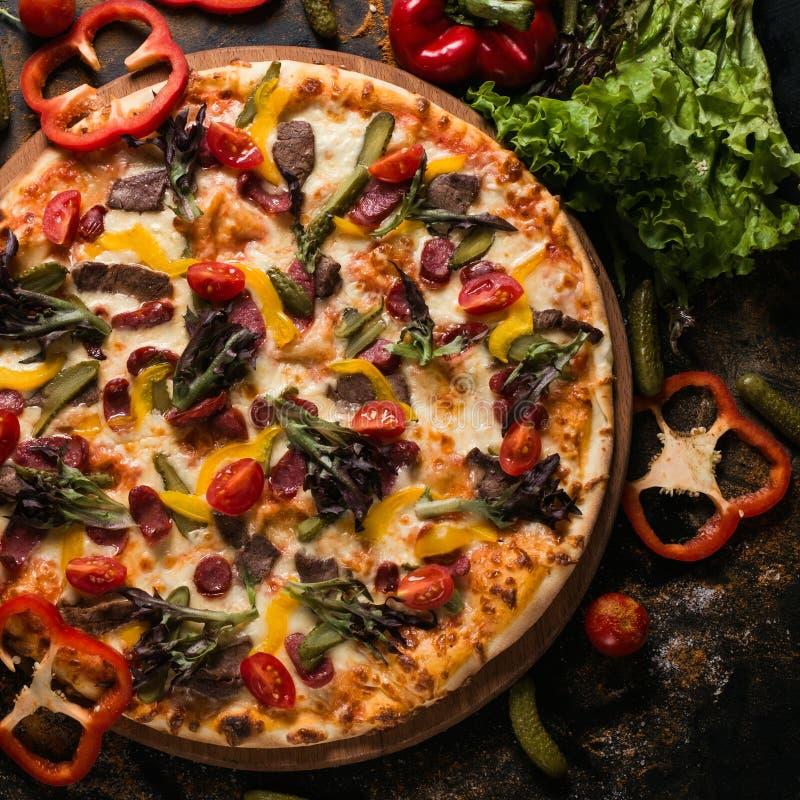 Concept de menu de pizza d'art de photographie de nourriture photos stock