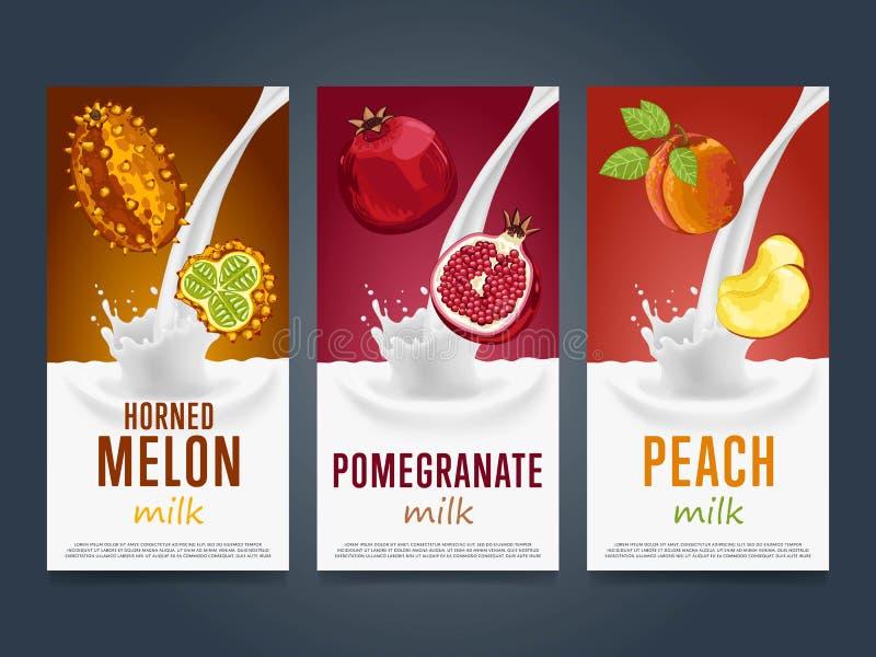 Concept de milkshake avec l'éclaboussure et le fruit de lait illustration de vecteur