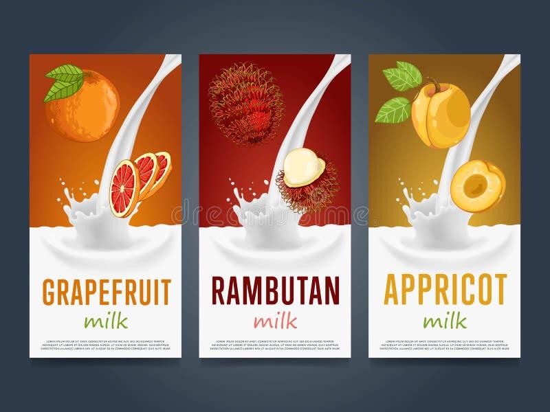 Concept de milkshake avec l'éclaboussure et le fruit de lait illustration stock