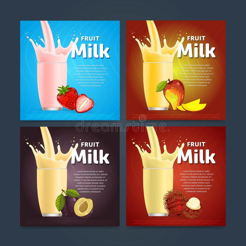 Concept de milkshake avec l'éclaboussure et le fruit de lait illustration libre de droits