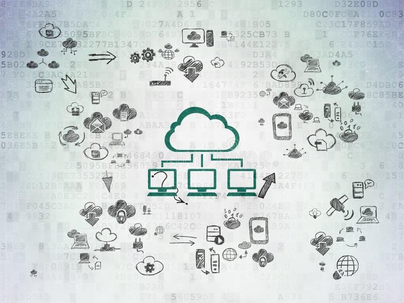Concept de mise en réseau de nuage : Réseau de nuage sur numérique illustration de vecteur