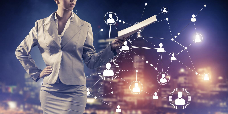 Concept de mise en réseau moderne d'affaires qui se relient et coopèrent image stock