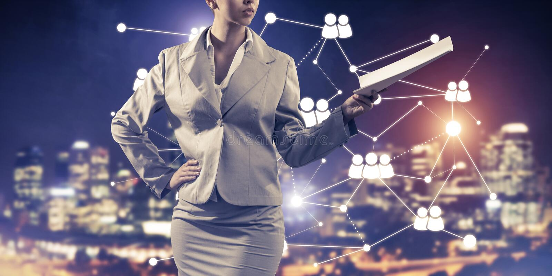 Concept de mise en réseau moderne d'affaires qui se relient et coopèrent photo stock