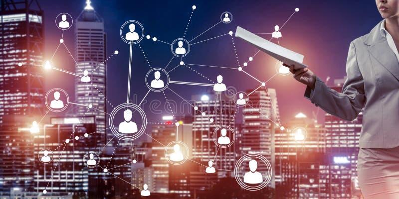 Concept de mise en réseau moderne d'affaires qui se relient et coopèrent images stock