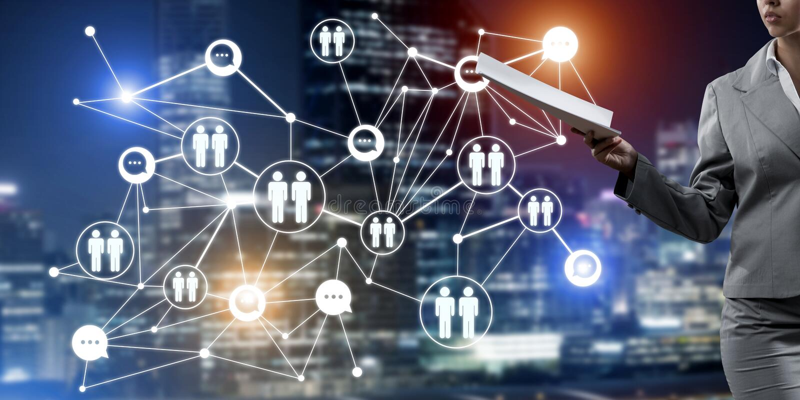 Concept de mise en réseau moderne d'affaires qui se relient et coopèrent les gens photo stock