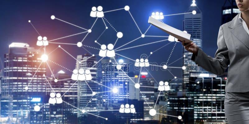 Concept de mise en réseau moderne d'affaires qui se relient et coopèrent les gens illustration libre de droits