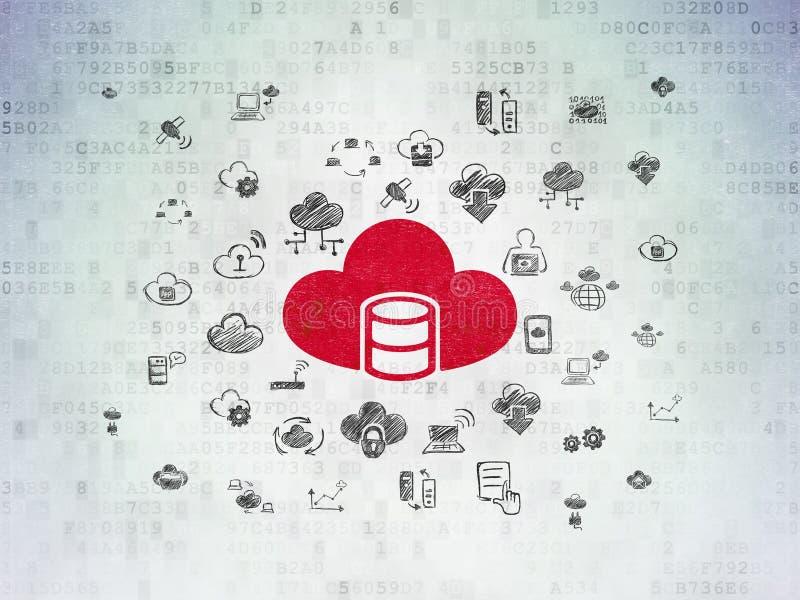 Concept de mise en réseau de nuage : Base de données avec le nuage sur le fond de papier de données numériques illustration stock
