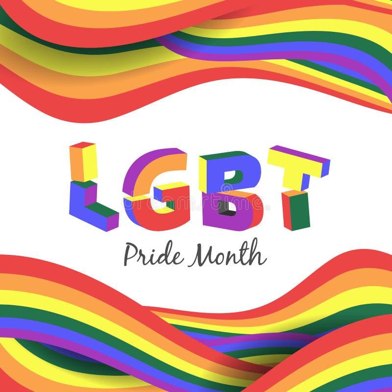 Concept de mois de fierté de LGBT avec le texte 3d de LGBT sur la conception abstraite de vecteur de fond de vague d'arc-en-ciel illustration stock
