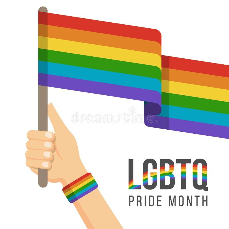 Concept de mois de fierté de LGBTQ avec la conception de vecteur de drapeau d'arc-en-ciel de prise d'arc-en-ciel de bracelet d'us illustration stock