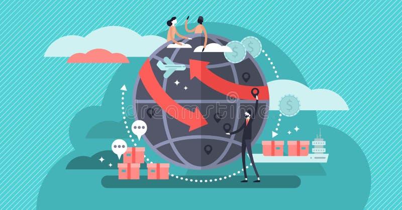 Concept de mondialisation, communication de personnes et relations de réseau d'affaires illustration de vecteur