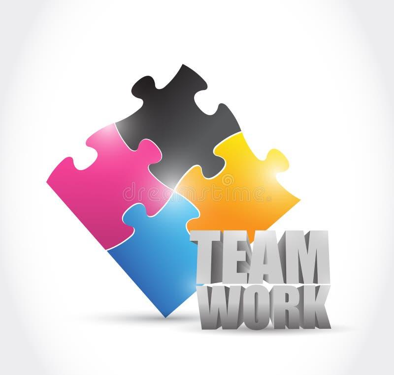 Concept de morceaux de puzzle de travail d'équipe illustration libre de droits